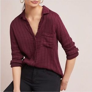 Anthropologie Cloth & Stone Soft Burgundy Buttonup